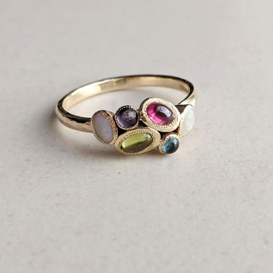 9ct Gold multi colour gem ring