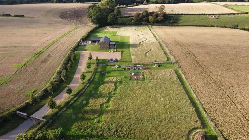 Aerial shot of Tinkers Barn