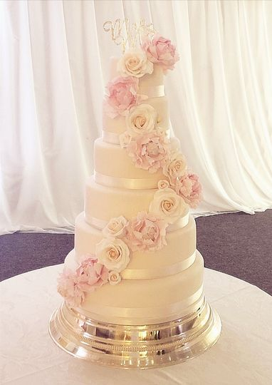 Blooms on a white cake