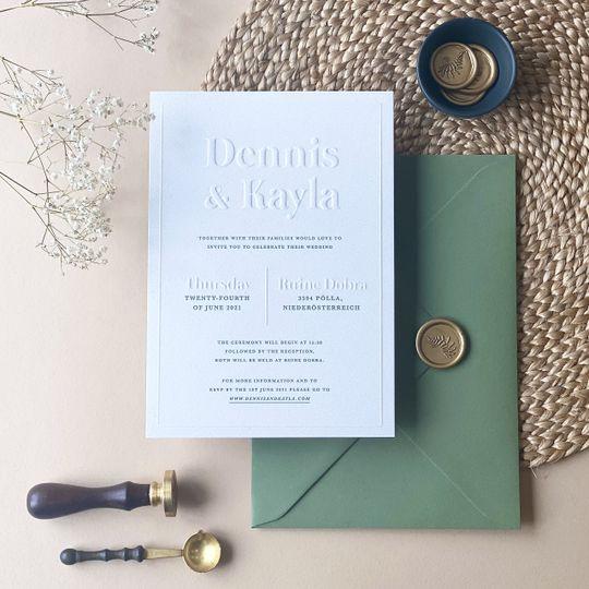 Blind embossed invitations