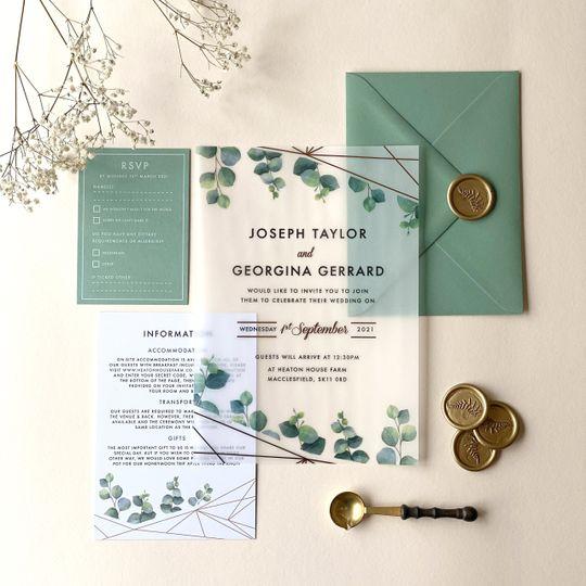 Vellum wedding invite