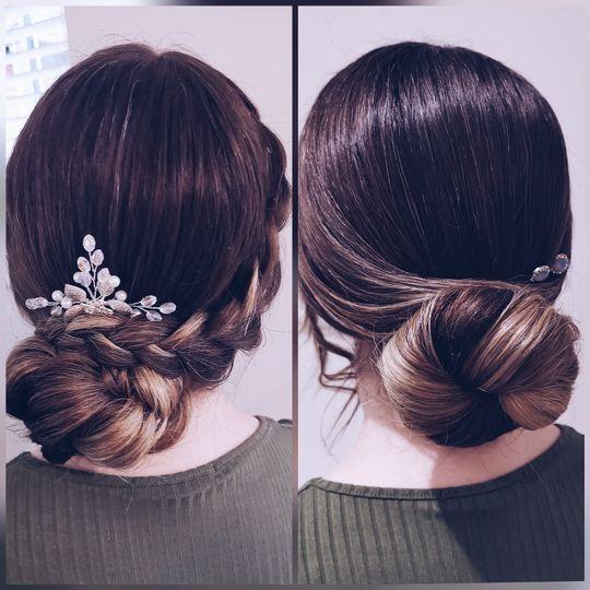 Bride and bridesmaid low buns