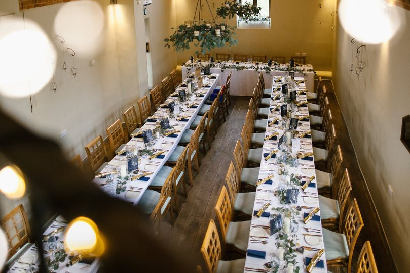 Trestle tables seat up to 74 guests on the grounf floor - don't forget our mezzanine too!
