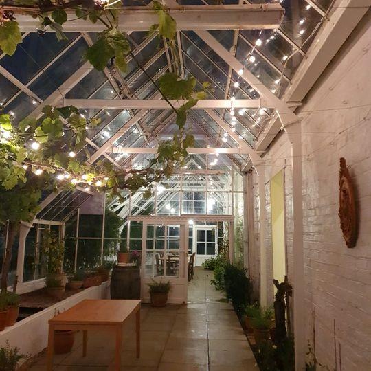 Grape house lit up at night