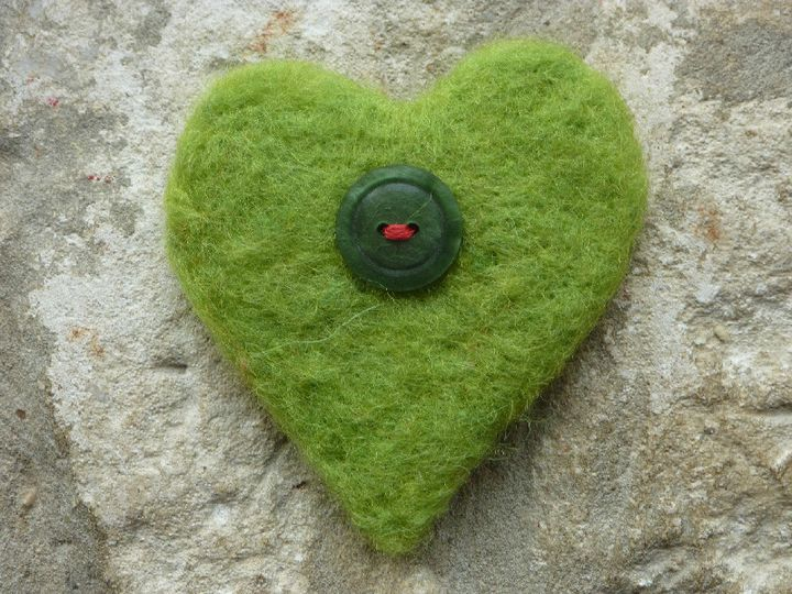 Green needlefelted heart, vintage heart