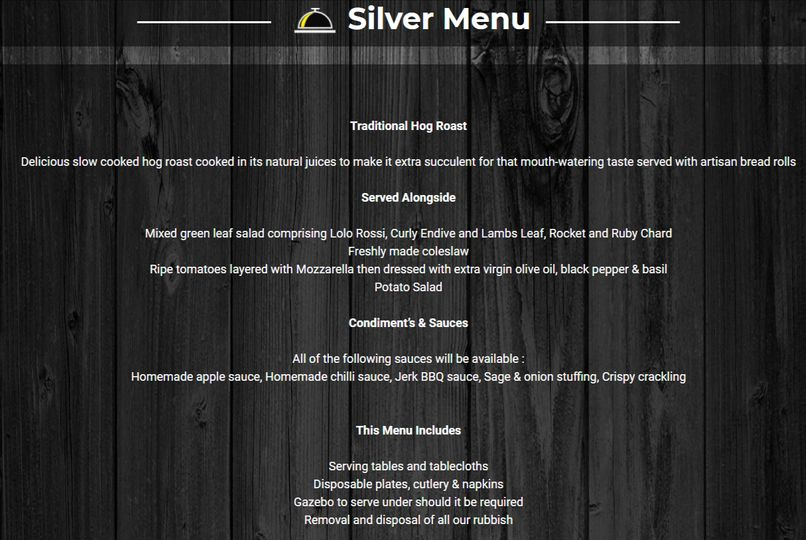Silver hog roast menu