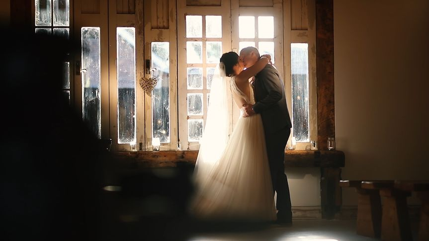 Newlyweds in sunlight