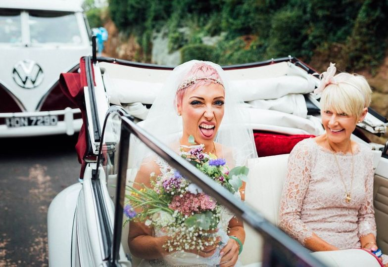 Funky emerald and pink bridal
