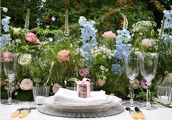Place setting and beautiful flowers