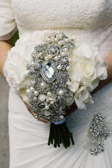 White hydrangea and bling