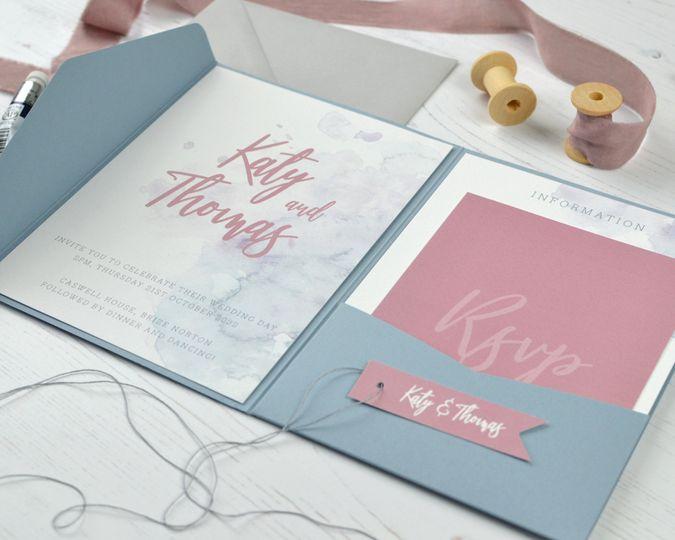 Pocketfold Watercolour Invite