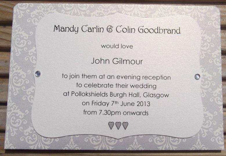 Silver Brocade Invitation 2