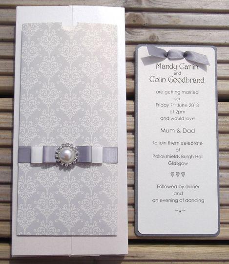 Silver Brocade Invitation 1