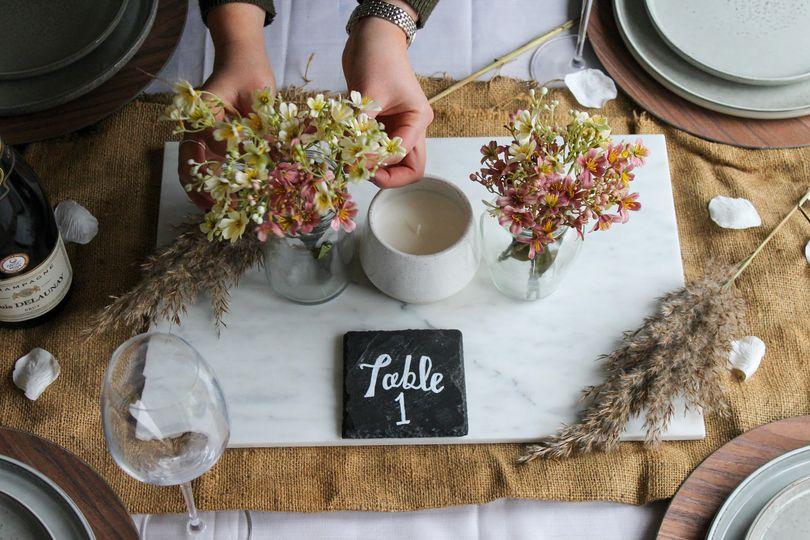 Delicate table arrangement