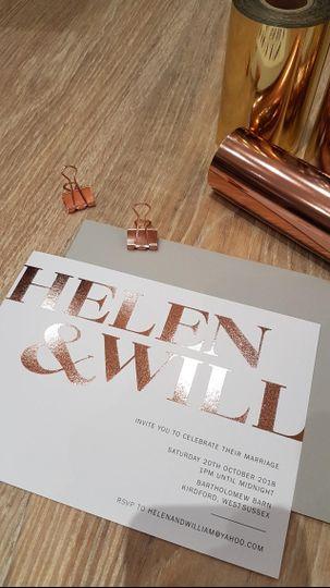 Gold foil modern invitation design