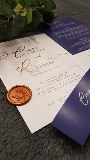 Traditional invitation with wax seal details