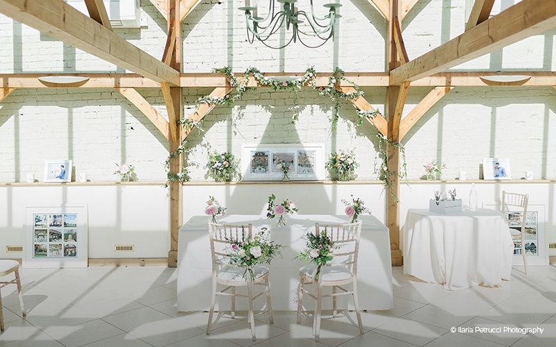 Set up for a wedding ceremony in The Orangery