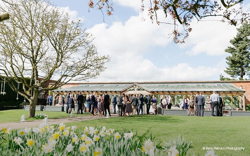 Drinks reception outside The Orangery