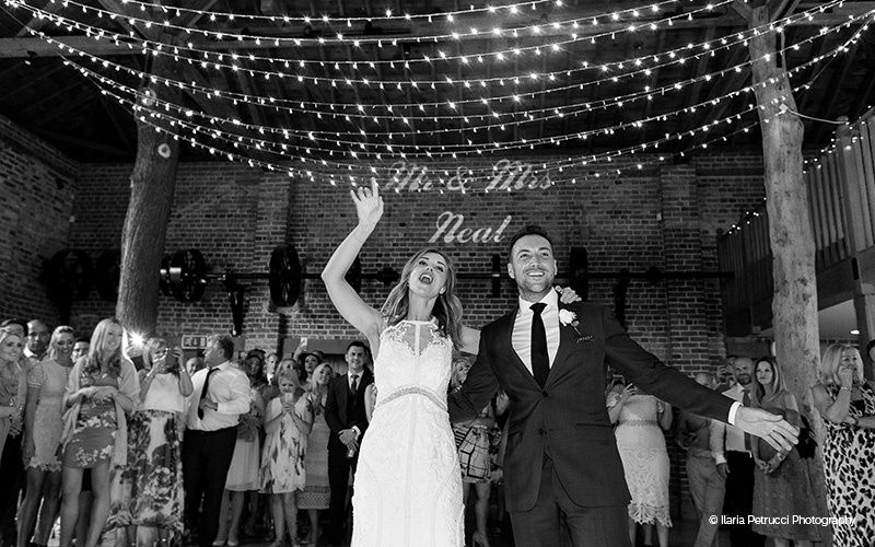Happy couple's first dance in The Mill Barn
