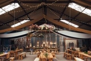 Redbank Barn swags, fairy lights, tables, floral & love letters
