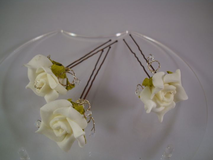 Ivory Rose & Crystal Hair-pins