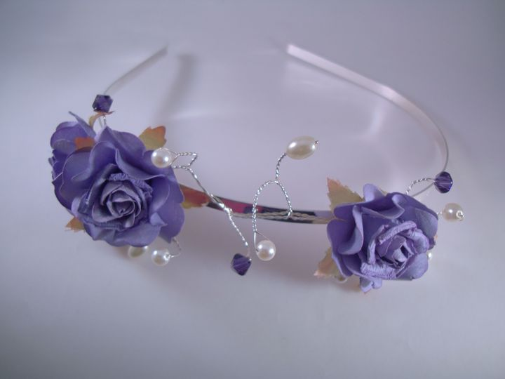 Purple Flower & Crystal Bridesmaids Tiara