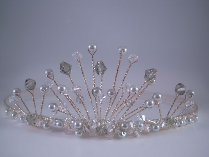 Silver Crystal & Pearl Bridal Tiara