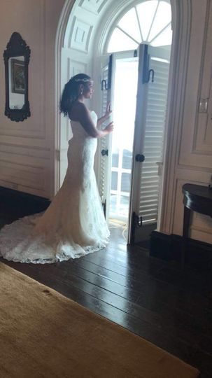 Bride Looking Out to Her Groom