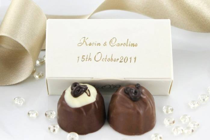 Chocolate truffles with personalised box