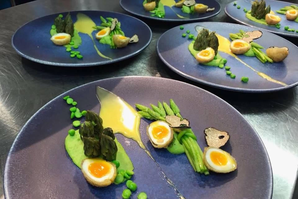 Wild asparagus, quail eggs