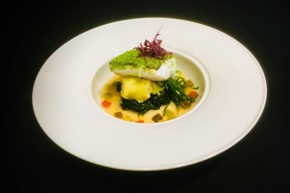 Herb crust cod, spinach