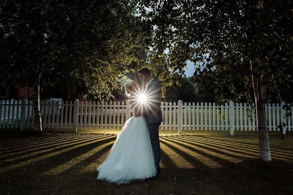 Wedding garden at night