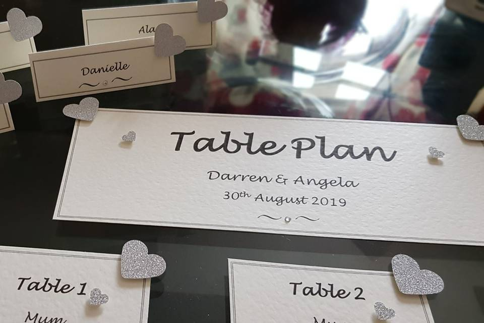 Name tents / Table plan