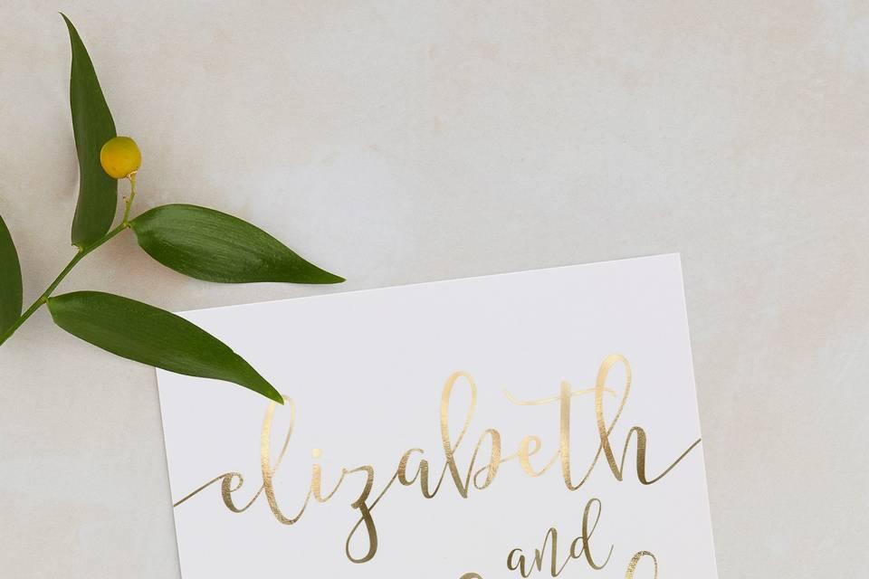 Real foil wedding invitation