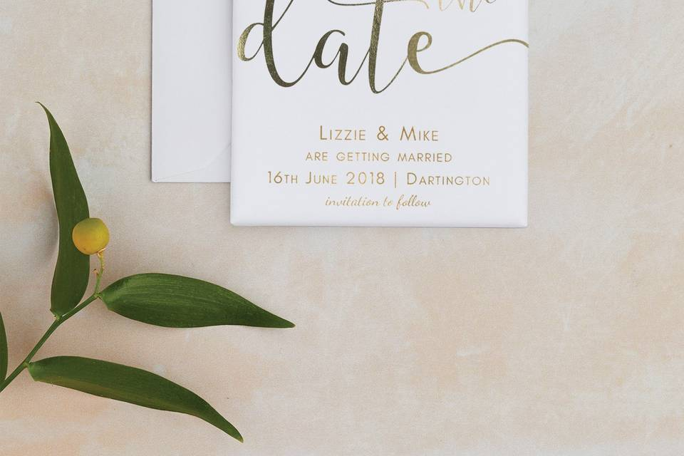 Foil save the date magnet