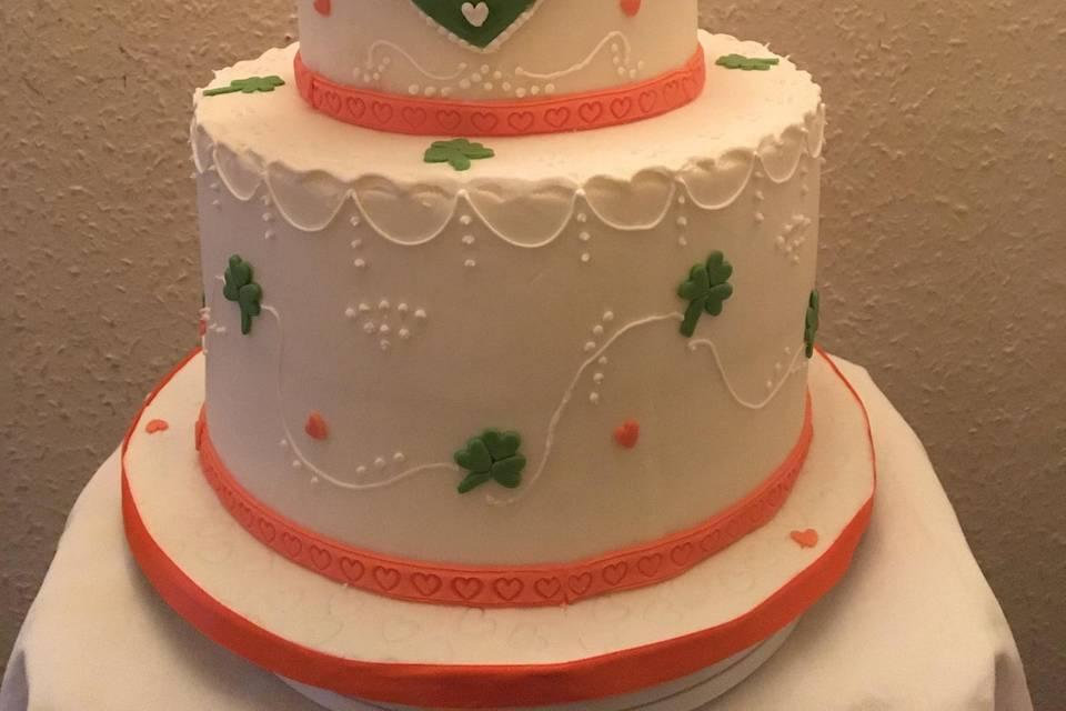 Irish-themed wedding cake    .