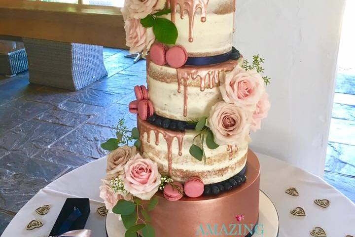Rose Gold Drip Cake with Fresh Flowers