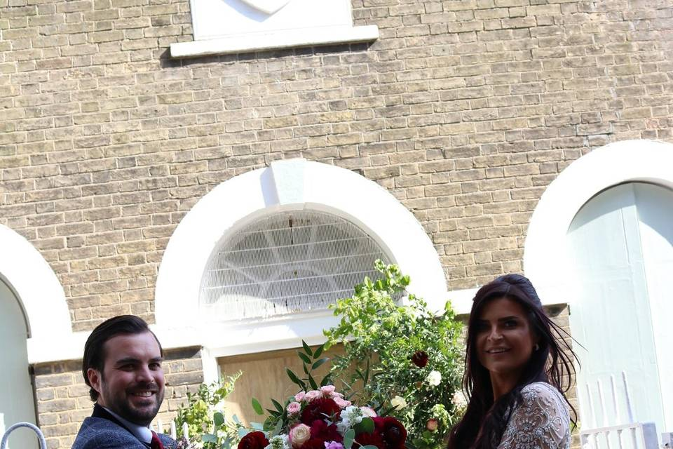 Wedding outside the chapel