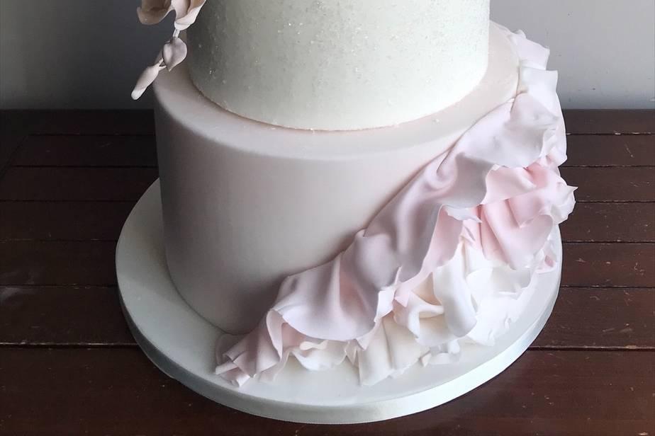 Blush pink ruffle cake