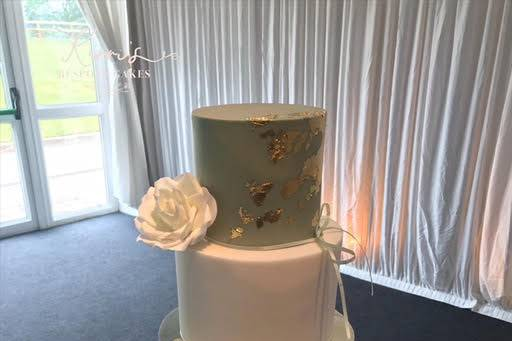 Sage green and gold cake