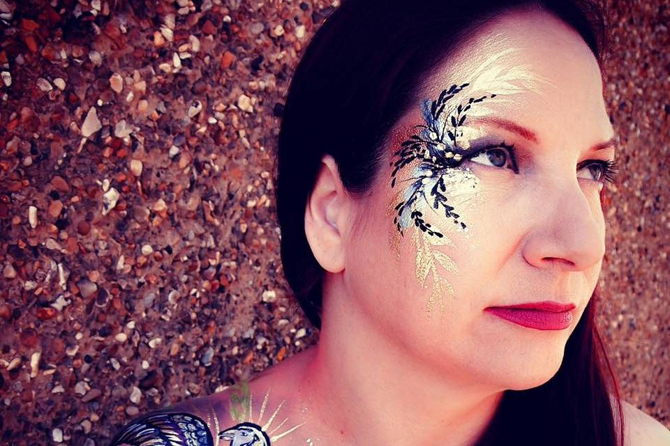 Tropical Bird Face & Body Art + Henna