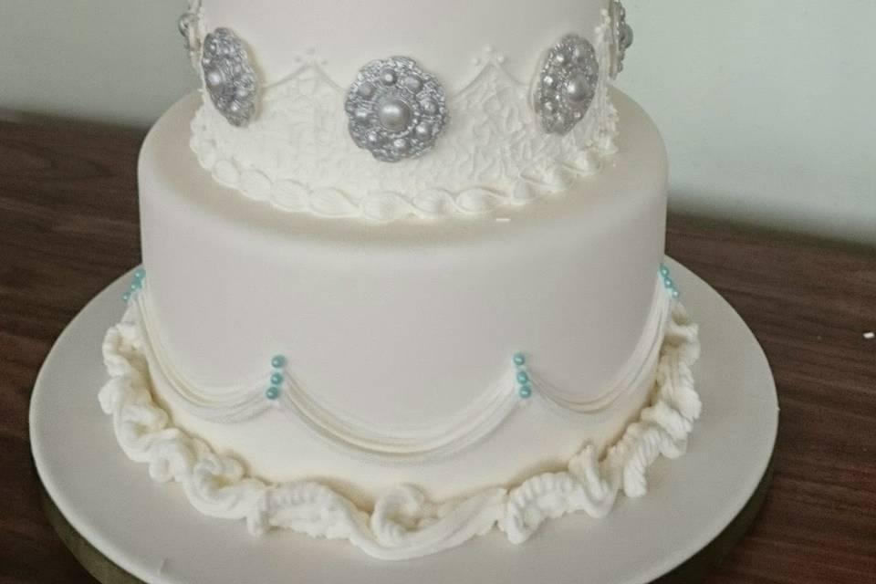 Blue royal iced wedding cake
