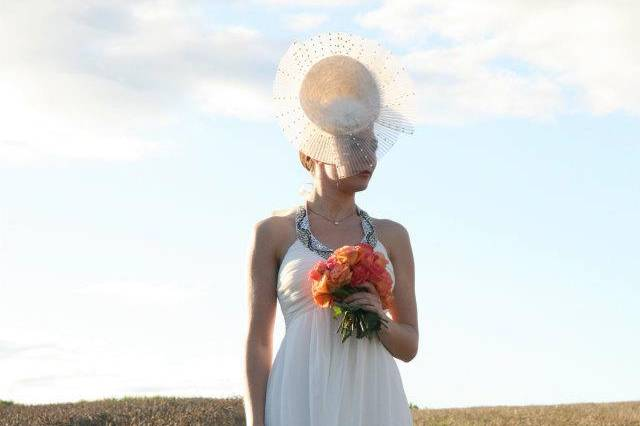 Celestial - Statement headpiece decorated with ivory feathers and Swarovski crystals