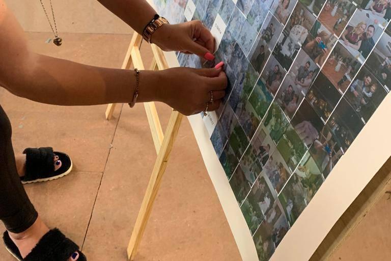 Guests building mosaic