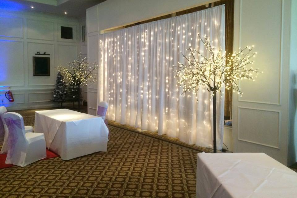 Backdrop & blossom trees