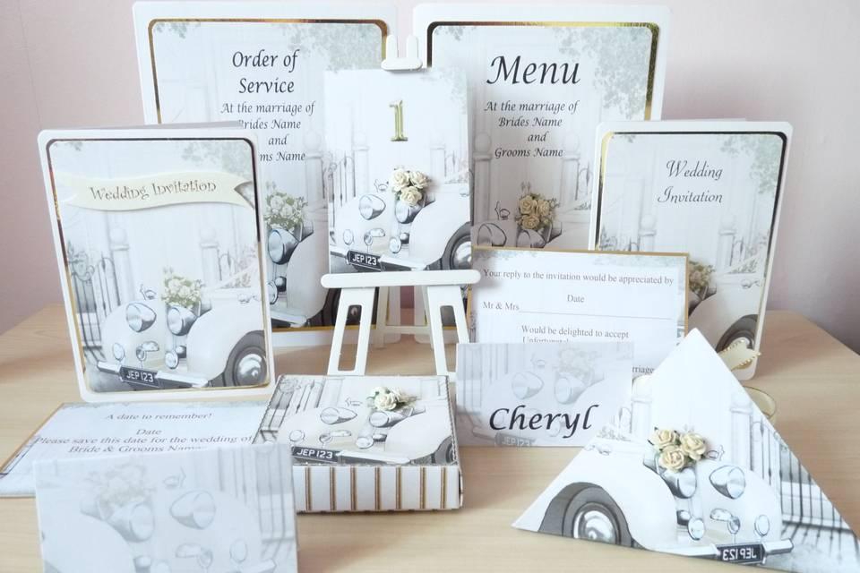 Wedding Car Stationery Set