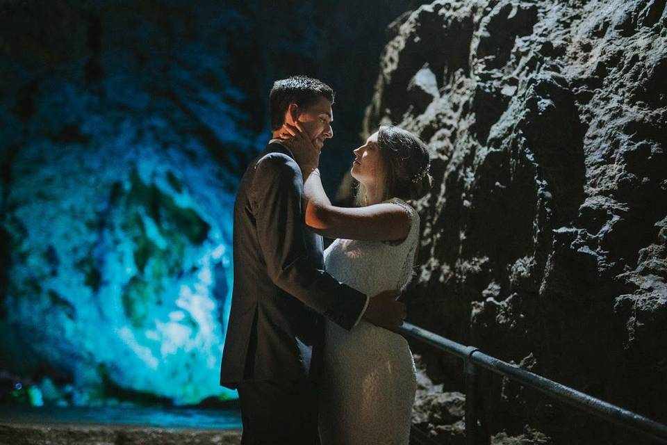 Newlyweds in the Wookey Hole Caves