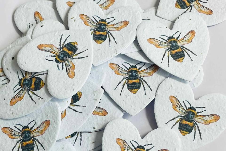 Plantable bee hearts