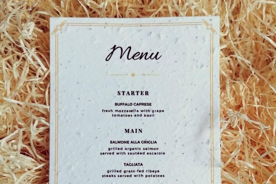 Plantable wedding menus