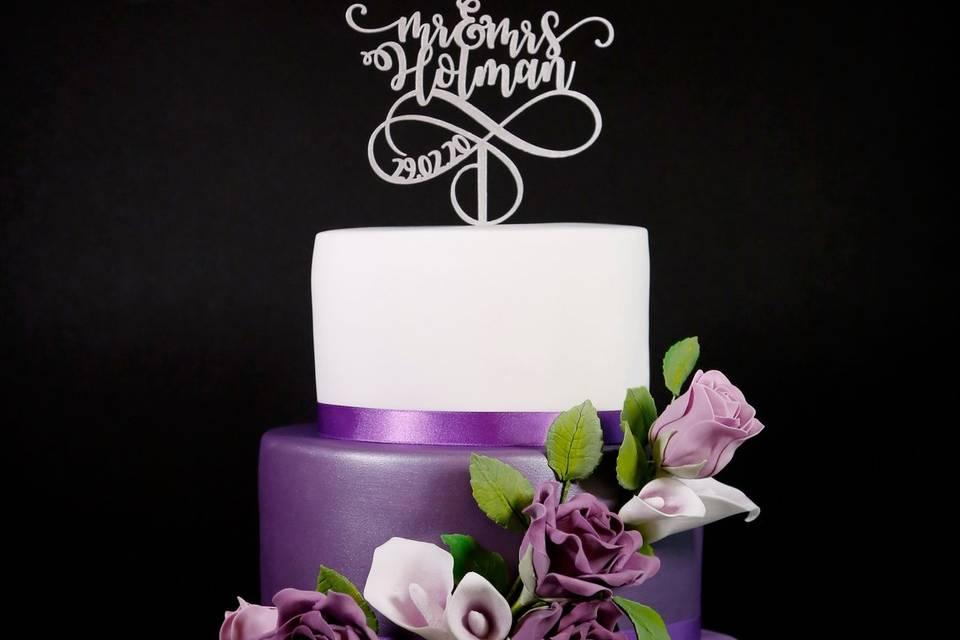 Purple Flower Wedding Cake 2